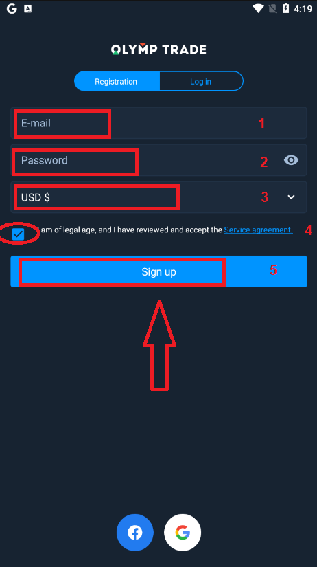 Olymp Trade میں اکاؤنٹ رجسٹر اور تصدیق کیسے کریں